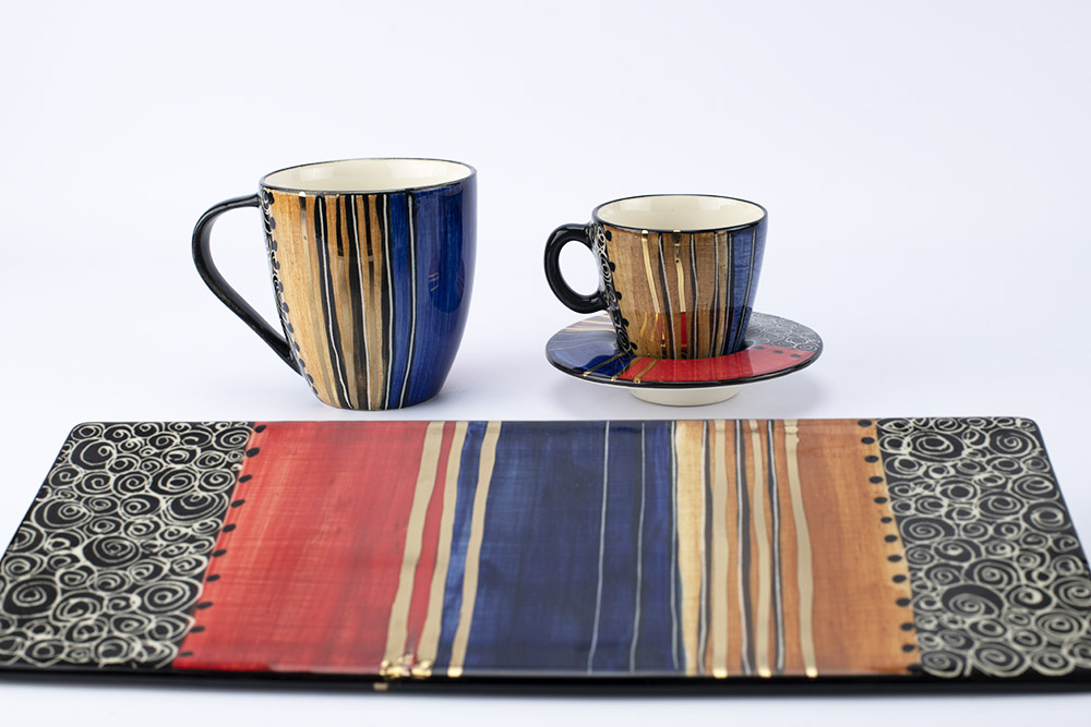 Letsopa Ceramics Cup and Saucer Hug-Mug and Plate in Red Golden Brown design