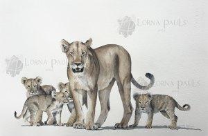 Leeuwin met welpen door Lorna Pauls