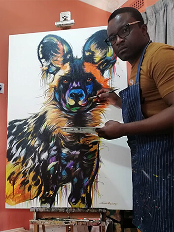 Justin Mashora with Painted Dog 80x120cm