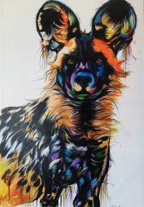 Painted dog by Justin Mashora 80x120cm 506pix
