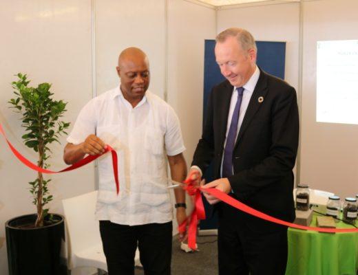 MEC Seaparo Sekwaiti with the Belgium Ambassador to South Africa, Didier van der Hasselt.