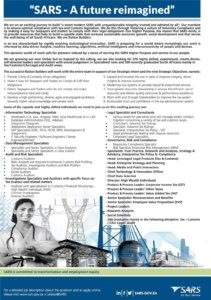SARS Is Looking For 370 High Skilled Personnel