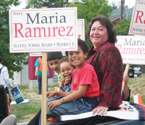 Maria Ramirez at the highlight of her campaign for Seattle School Board director with students (from left to right) Michael Hernandez, Cameron Jenkins, and Sean Jenkins (Photo provided by Maria Ramirez)