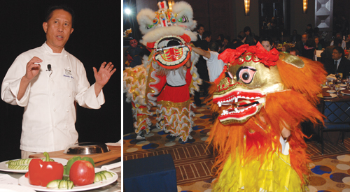 Left: Celebrity Master Chef Martin Yan performs on the stage. Right: Long Life Association Lion Dancers lead guests to ballroom. (Photos by Dean Wong)