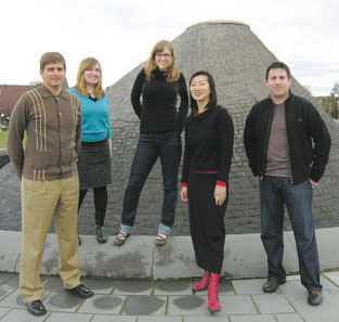 Schemata staff, from left to right: John Feit, Peggy Heim, Emily Woods, Grace Kim, and Mike Mariano