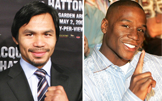 Manny Pacquiao (left) (Photo by Bret Newton) and Floyd Mayweather Jr.