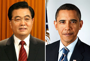 President of the People's Republic of China, Hu Jintao (left) and President of the United States, Barack Obama