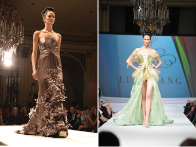 "Photo captions, from left: Luly Yang in the finale dress, thanking the crowd, Yang's ""Fade into You"" green ombre silk charmeuse gown, Yang's ""Feathered Tough"" taupe crepe satin silk gown, and Yang's ""The Creation"" gown"