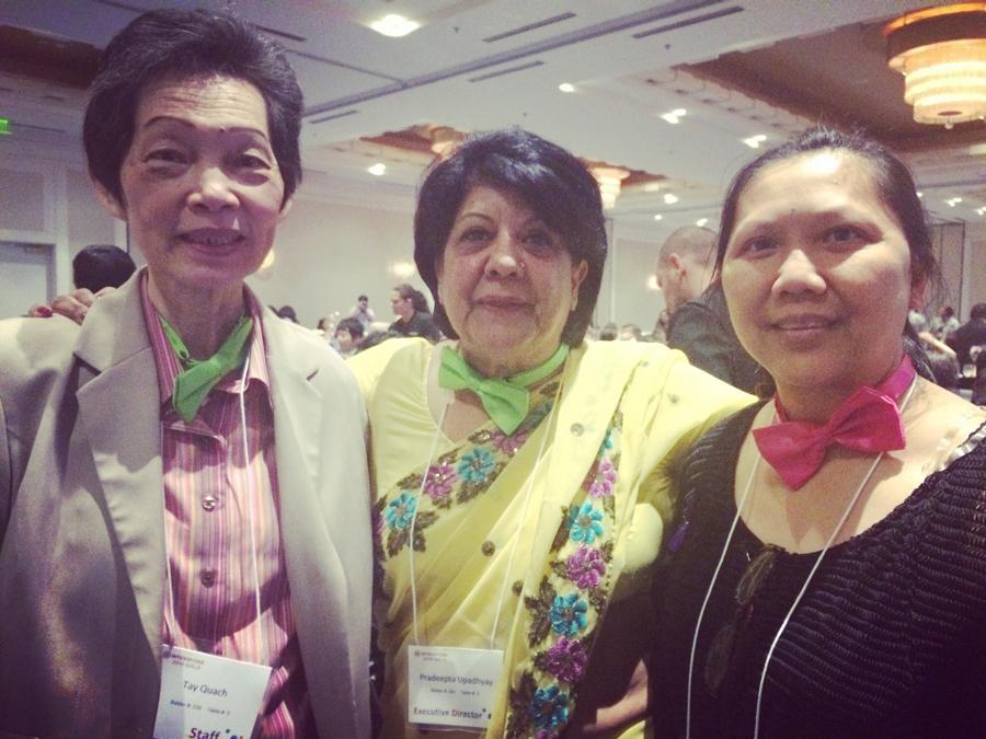 From left: Tay Quach,volunteer, Pradeepta Upadhyay, Executive Director, and Mai Hoang, client. (Photo by Assunta Ng/NWAW)