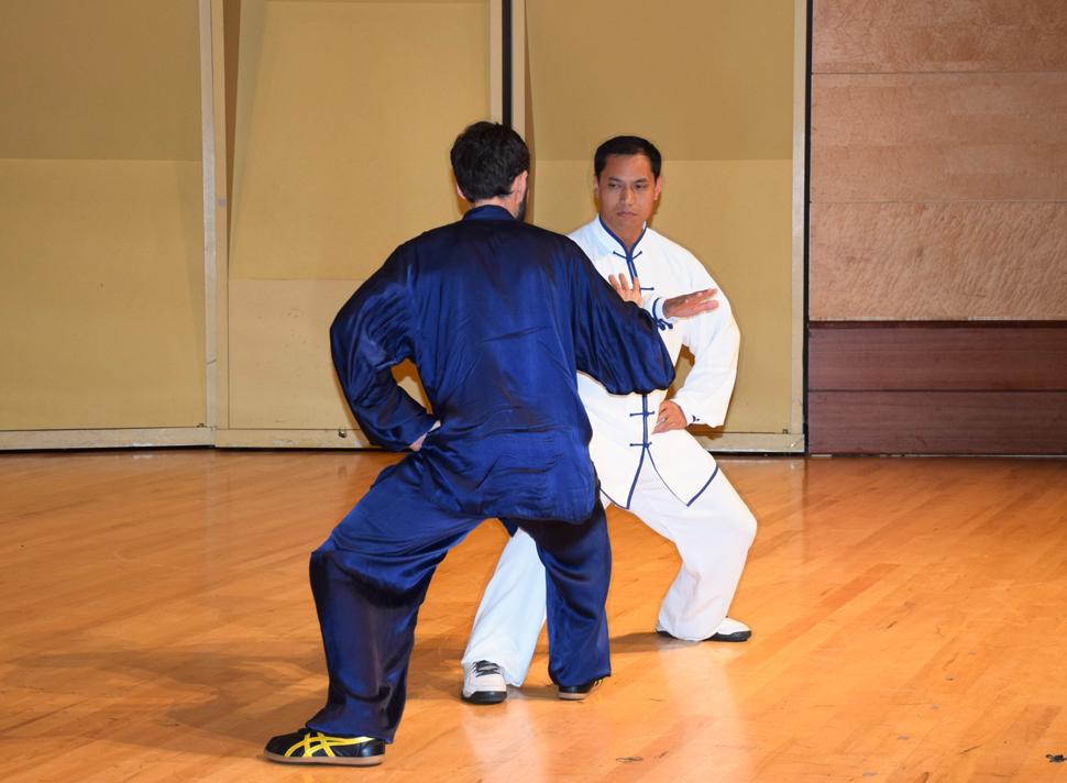 Masters Xiao Ming Xu and Byron Hartman perform Chen Taichi Push Hands.