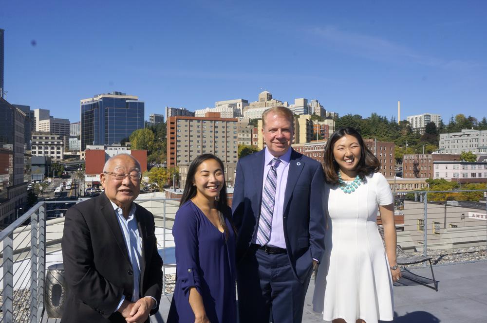 From left: Tomio Moriguchi, Miye Moriguchi, Mayor Ed Murray, and Deputy Mayor Hyeok Kim. (Photo by George Liu/NWAW)