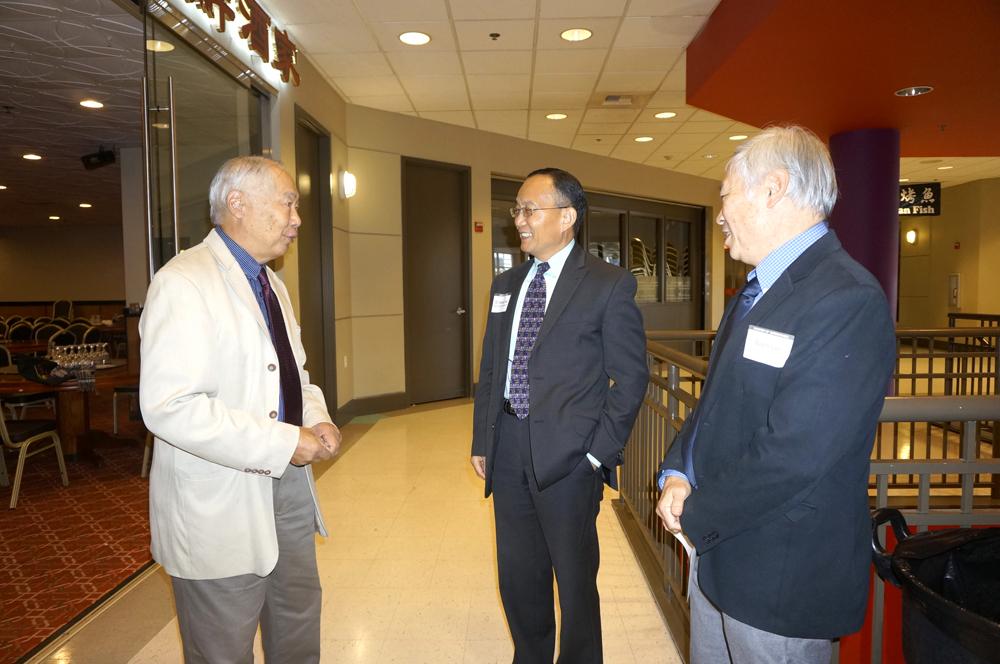 From left: Joey Ing, Dr. Shouan Pan, and emcee Wayne Lau