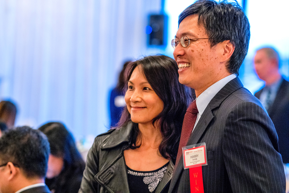 Honoree Harry Shum with his wife, Ka Yan.
