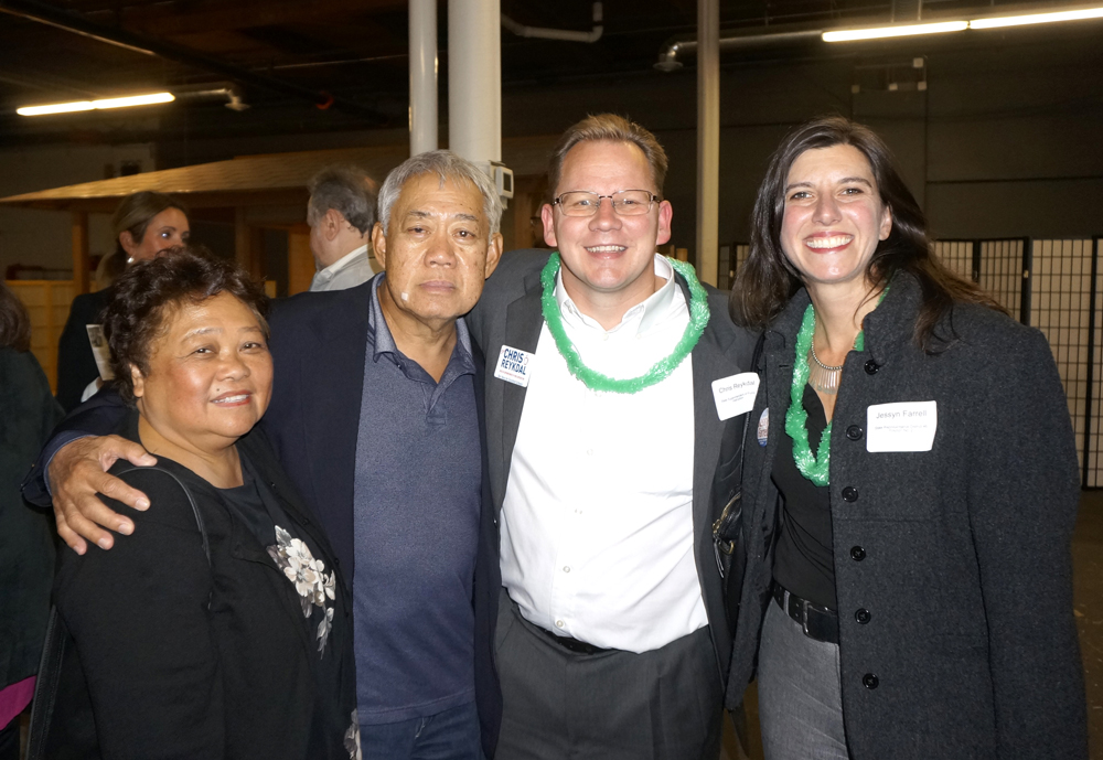 From left: Felicita Irigon, Frank Irigon, CHRIS REYKDAL, candidate for Superintendent of Public Instruction, JESSYN FARRELL, candidate for Legislative District 46, State Representative Position 2.
