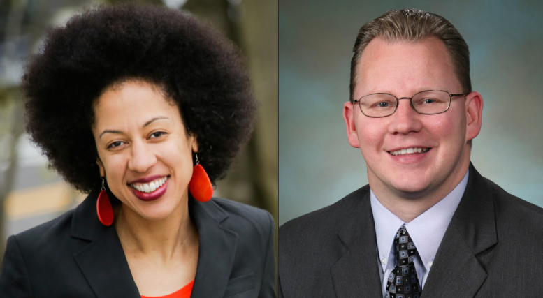 Erin Jones (left) and Rep. Chris Reykdal