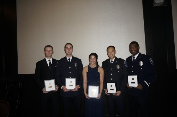 Jayme Beckon (middle), Hudson Kang (second from right) and other award recipients.
