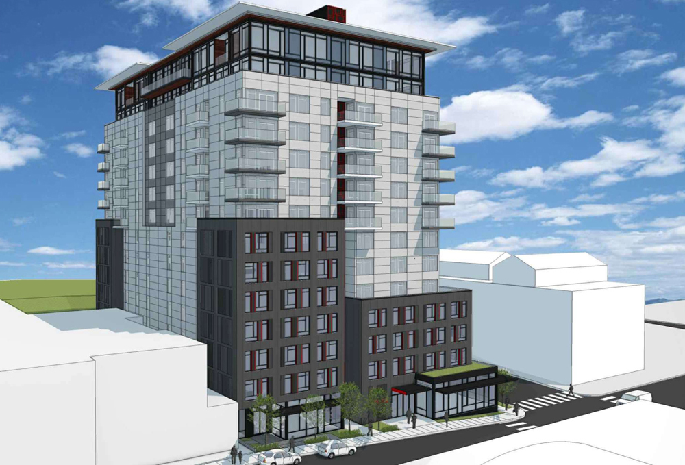 Artist's rendering of the SpringHill Suits on 8th Ave. (Courtesy: Studio19 Architects.)