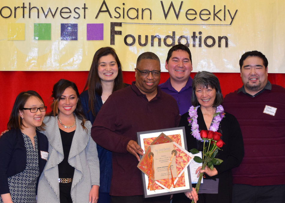 From left: Julia Kwon, Toshiko Hasegawa, Mika Kurose Rothman, King County Council Larry Gossett, Alex Johnson, Rep. Sharon Santos, and Derek Ishihara.