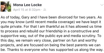 Lockes divorced, remain good friends