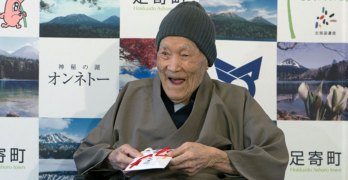 Oldest man likes soaking in Japan hot springs, eating sweets