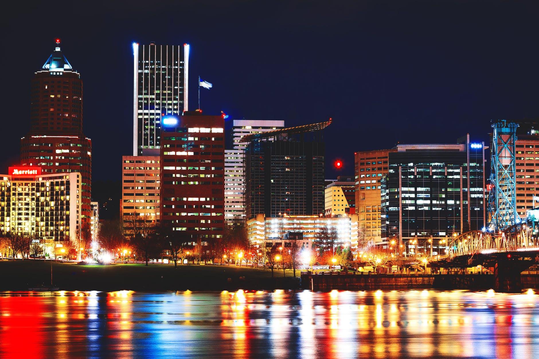 architecture buildings city city lights