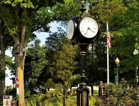 Downtown Ridgewood NJ near Van Neste Square Park, clock, park, trees