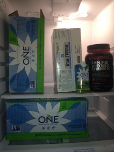 The fridge at NWFA. Coconut Water and proteins!