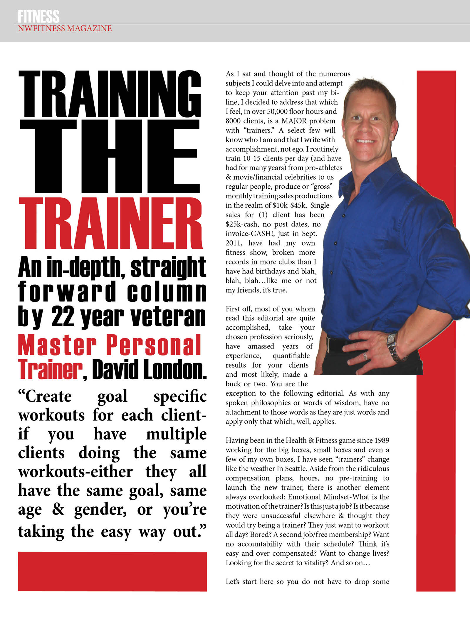 Training The Trainer – David London | NW Fitness Magazine