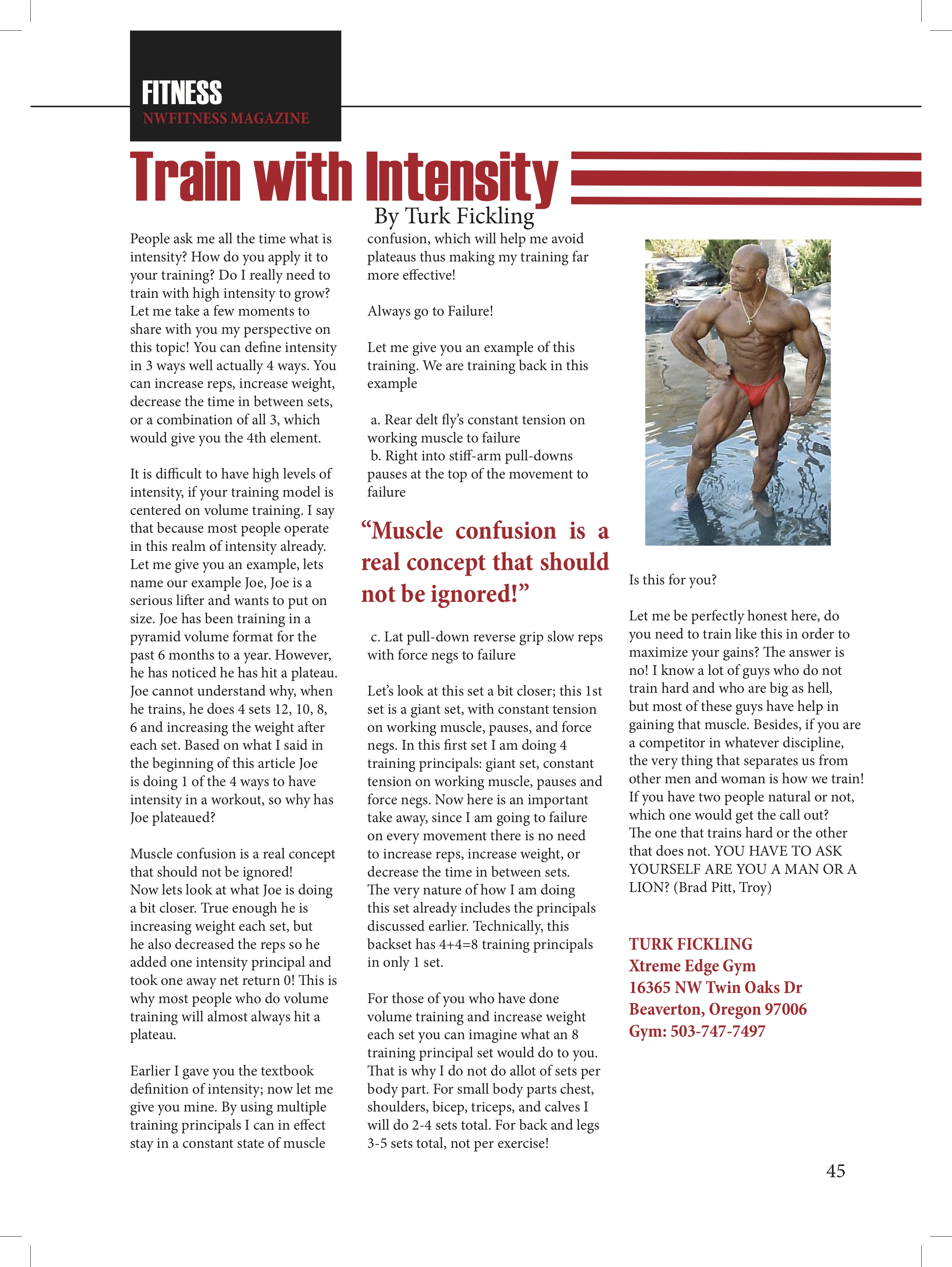 Train with Intensity – Turk Fickling   NW Fitness Magazine