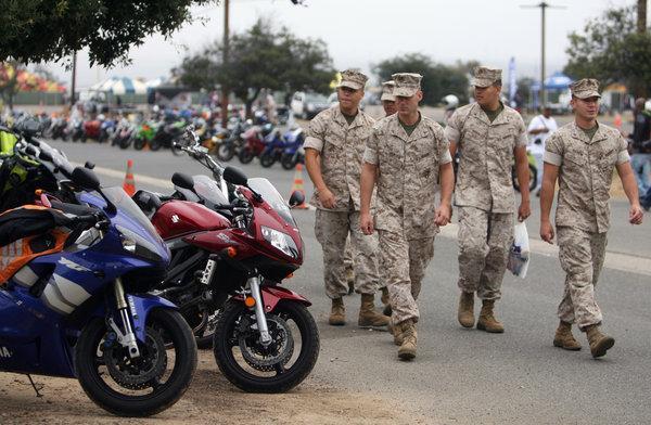 Marines Walk By Sportbikes