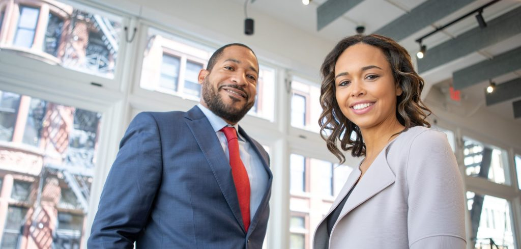 Male and female business people