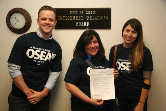 Oregon AFL-CIO Organizer Chris Hewitt, AFT Project Staff Organizer Lesly Salinas and AFL-CIO Organizer Claudia Magaña at the State of Oregon Employment Relations Board after filing a petition to organize Mt. Hood Community College Head Start workers.