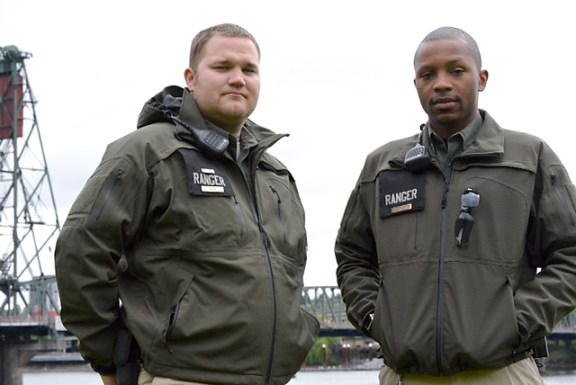 NO UNION FOR YOU: The Portland City Attorney's office, in legal arguments filed May 13, says City of Portland park rangers like Nathan Hepp (left) and Vicente Harrison shouldn't be added to Laborers Local 483 because they are too unlike other members.