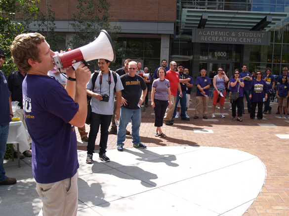 Ethan Picman, SEIU Local 503's chief steward at Portland State University, explains the bargaining impasse with the Oregon University System, at an Aug. 28 rally.
