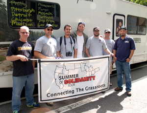 """A group of Steelworkers union activists —on a nationwide """"Summer of Solidarity"""" tour — stopped in Portland Aug. 28 and rallied with workers who are getting ready to strike at seven state universities."""