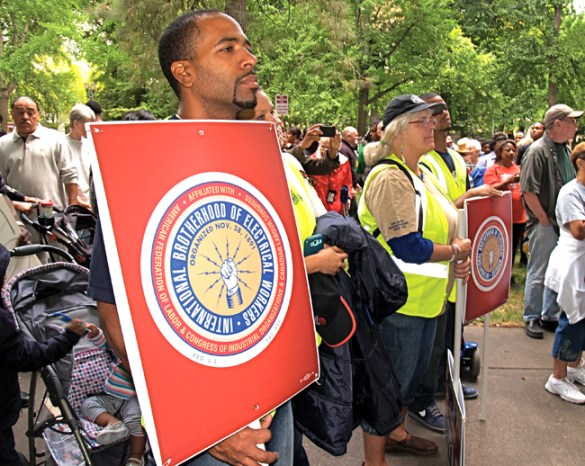 A large contingent of members from IBEW Local 48 were among several thousand gathered in Portland Aug. 24 to commemorate the 50th anniversary of the March on Washington for Jobs and Freedom. Among them were Ettione Dixon, Desiree Dixon, Christina Valentine and Andre Lawrence.