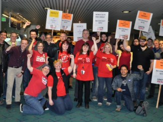 Pro-union workers and supporters set up a brief informational picket Feb. 18 at the Portland airport.  (Photo courtesy UNITE HERE)