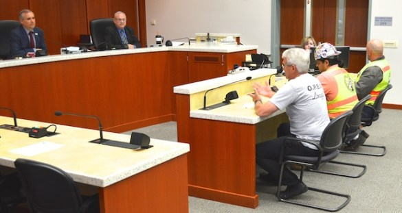 Mike Richards, executive secretary of Office and Professional Employees Local 11, gives public testimony opposing  anti-union resolutions being considered in Clark County, Wash, by Councilors Dave Madore and Tom Mielke.
