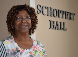 Shirley Block in front of Schoppert Hall, ATU Local 757 headquarters.
