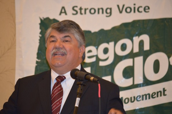 """Wearing a tie that says """"Stop TPP,"""" national AFL-CIO President Richard Trumka—America's top union official —called on unions to work together to win a better life for working people."""