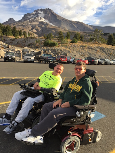 Machinists Lodge 63 member Sam Beekman (right) at the starting line at Timberline Lodge with his friend Brian Epps
