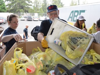 """LETTERCARRIERSFOODDRIVE: John Vandermosten, a retired electrician and member of IBEWLocal 48, collects food at the Gresham Post Office May 14, part of the national  """"Stamp Out Hunger"""" food drive sponsored by the National Association of Letter Carriers, AFL-CIO. Alongside him is Stephanie Nystrom of the East Suburban Democrats, which sent a group of volunteers to help sort and load food. The Gresham Post Office collected approximately 34,000 pounds of food. Union members from various locals volunteered at other post offices throughout the state."""