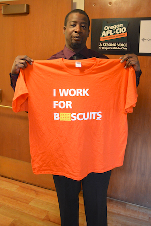 """DELICIOUS MOMENTS OF INSENSITIVITY: Nabisco parent company Mondelēz says its mission is """"creating delicious moments of joy,"""" but Chicago bakery worker Anthony Jackson says three months after Kraft became Mondelēz, it gave employees t-shirts that said, """"I work for biscuits."""" Maybe company execs thought that would be joyous, or funny, but Jackson didn't. """"Rin Tin Tin works for biscuits. Lassie works for biscuits. Humans don't work for biscuits,"""" Jackson says. """"You don't tell another human being, 'You work for biscuits.'"""""""