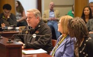 """""""When a wealthy corporation can call the Oregon Legislature into session for a special tax deal, you know we have an influence problem."""" — UFCW Local 555 secretary-treasurer Jeff Anderson, testifying alongside State Senator Diane Rosenbaum of the Joint Interim Task Force On Campaign Finance Reform, and NAACP director Joanne Hardesty."""