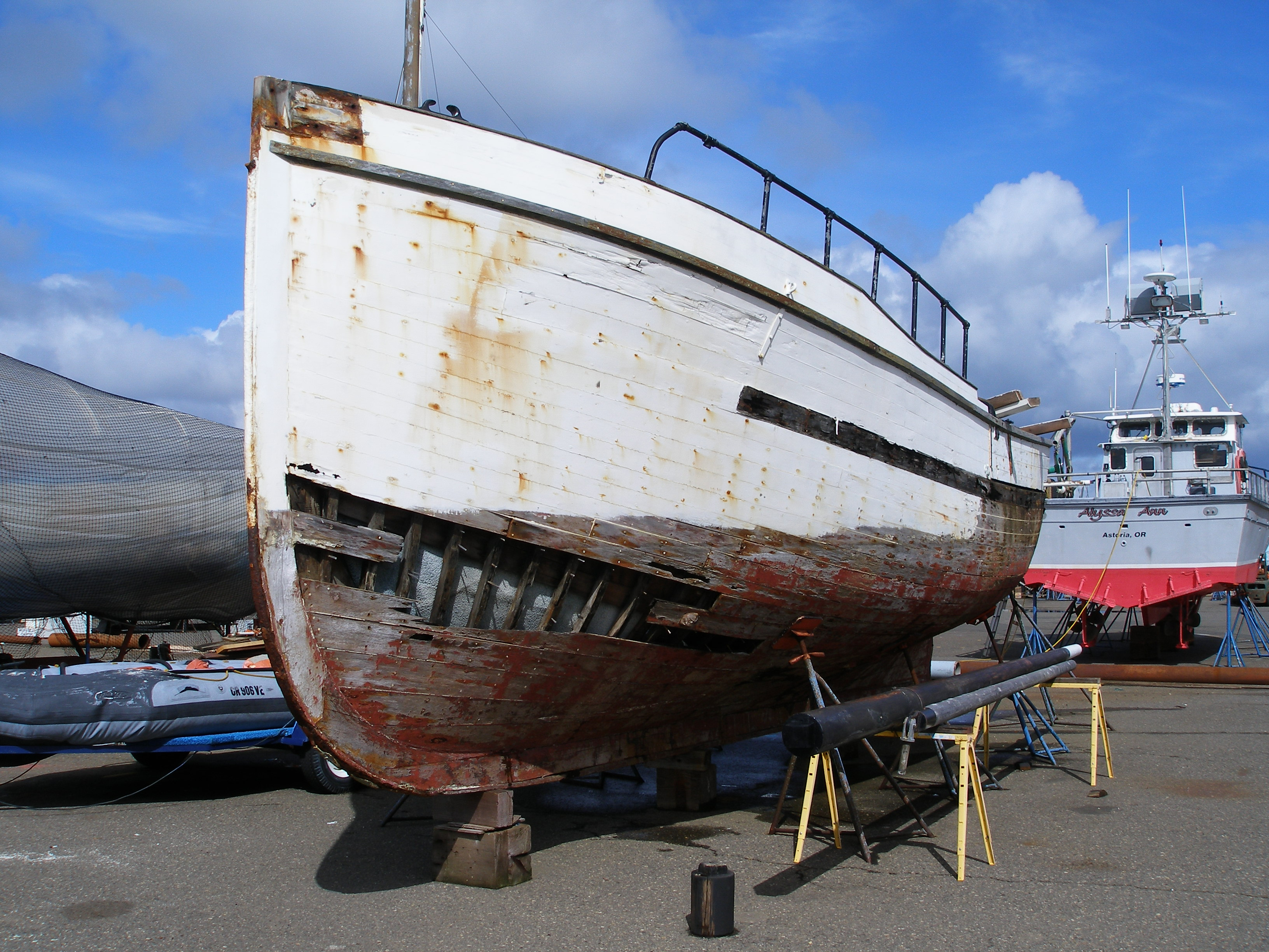 Slated for demolition and disposal, this old hull sits waiting