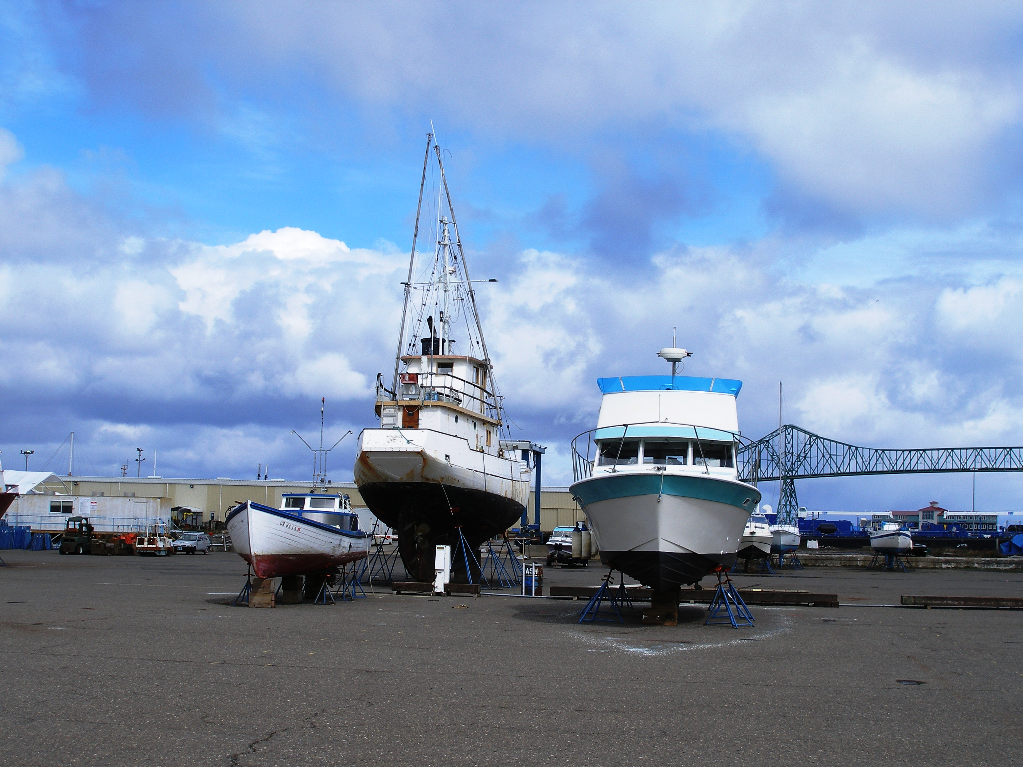 Gillnetter, troller and charter sit side by side out of the water and in storage