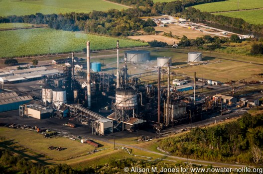 USA: Louisiana, Aerial photo of Atchafalaya Basin area, south of New Iberia, Degussa Engineered Carbons LP, carbon black plant on Weeks Island Rd.