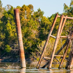 USA: Louisiana, the Atchafalaya Basin, with C. C. Lockwood, Atchafalaya River, old abandoned dock of oil processing company
