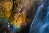US: Oregon, Columbia River Basin, Columbia River Gorge, Multnomah Falls, detail with rainbow. © Alison M. Jones
