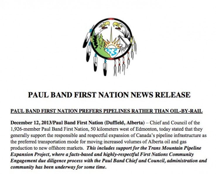 PAUL BAND FIRST NATION NEWS RELEASE
